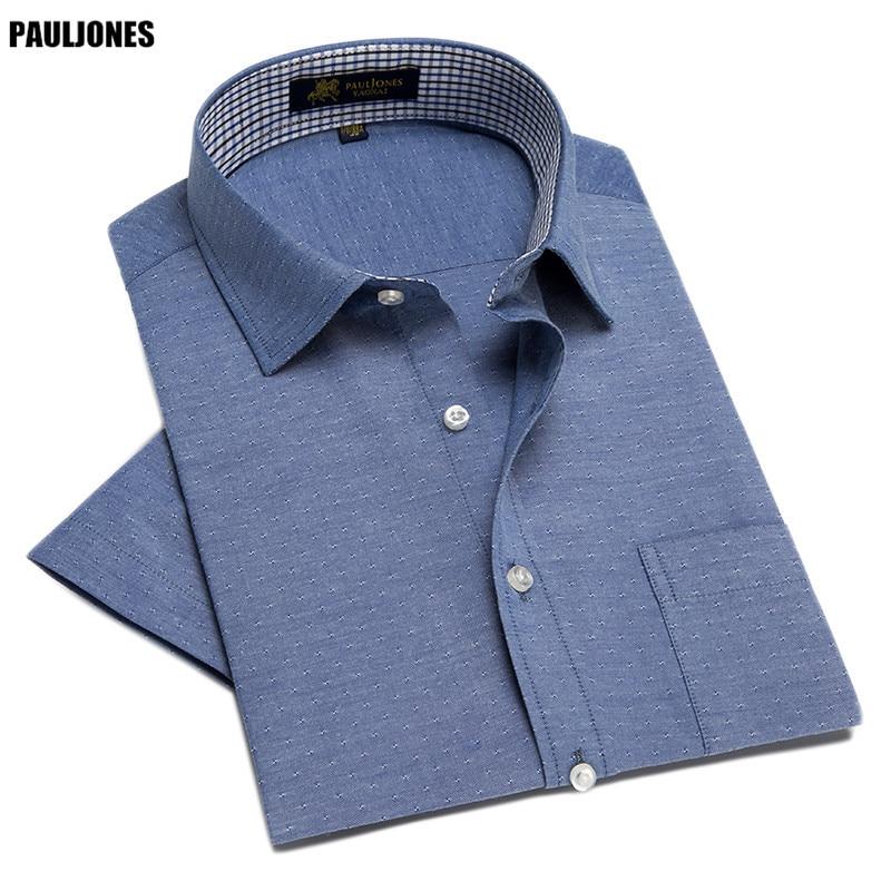 PaulJones D42 Zomerstijl Heren Korte mouwen Witte shirts Vintage - Herenkleding