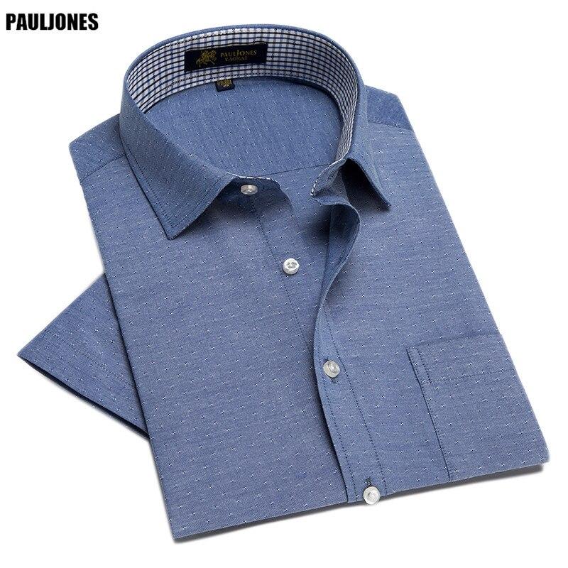 bad32c82e2f Pauljones D42 лето стиль мужчин с короткими рукавами белые рубашки Винтаж  повседневные платья рубашки моды социального дизайнера брендовая мужская  одежда