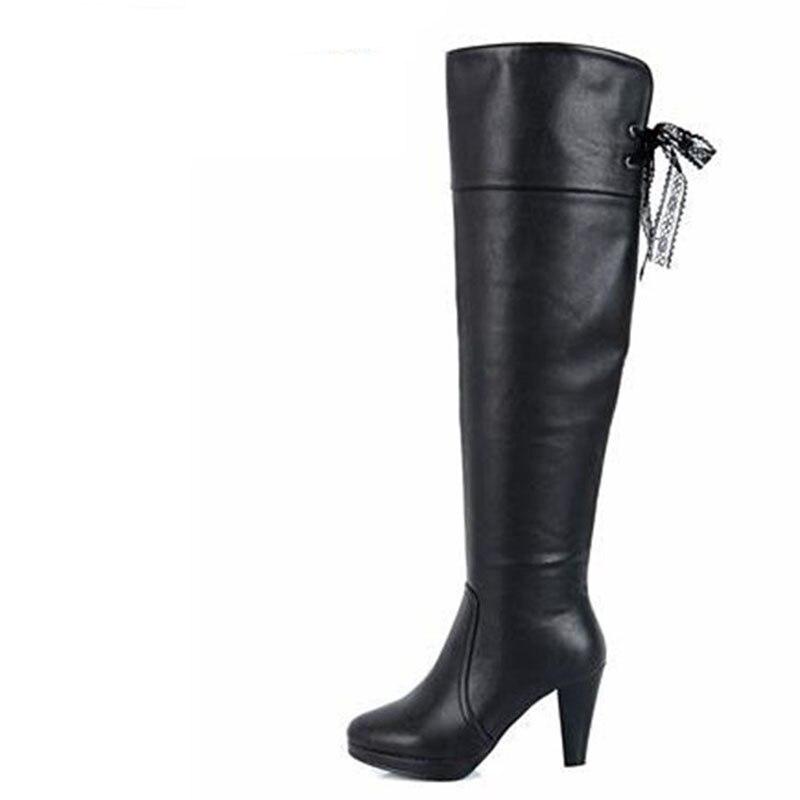 2017 Frauen Winter Stiefel Dicke Wasserdichte Hohe Knie-hohe Stiefel Stiefel Mit Dünnen Bein Und Martin Stiefel Größe 35-40 Freies Verschiffen