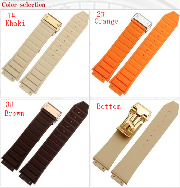 25mm NEW TOP GRADE Orange stitched Waterproof Diving Silicone Rubber Watchband Bands Straps with buckle for brand fashion men 28mm new high quality red waterproof diving silicone rubber watch bands straps