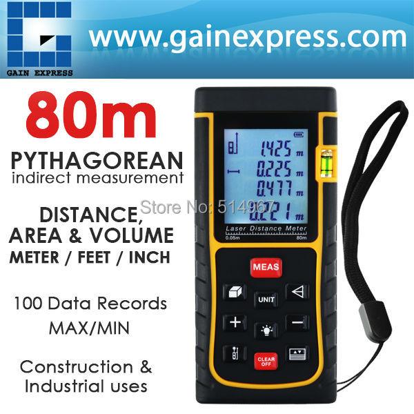 80m (262ft) Area Volume Pythagorean Digital 80 Meter Laser Distance Range Finder w/ Spirit Level Industrial Construction Use  цены