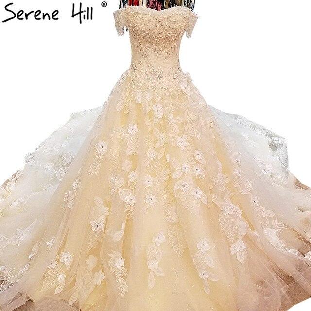 Extreme Luxury Champagne Beading Tulle Wedding Dress Romantic ...