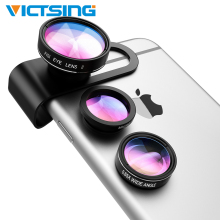 3 in 1 Fisheye Camera Lens 0.65X Wide Angle Macro Clip on Cell Phone Kits for iPhone 8/7/6s/6/5s Android Most