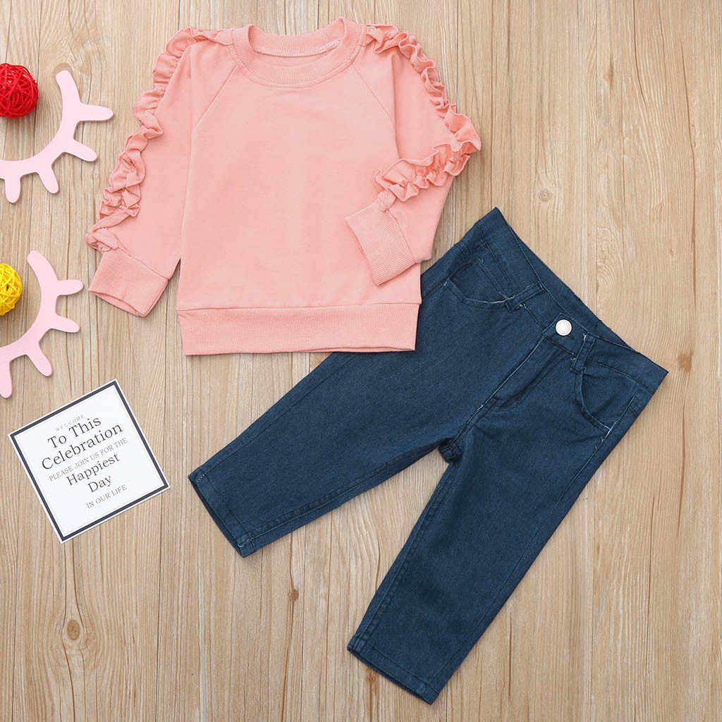 Camisas Con Volantes De Color Sólido De Manga Larga Para Niñas Pantalones De Mezclilla Largos Casuales De Primavera Conjunto De Ropa Para 2019 Nueva