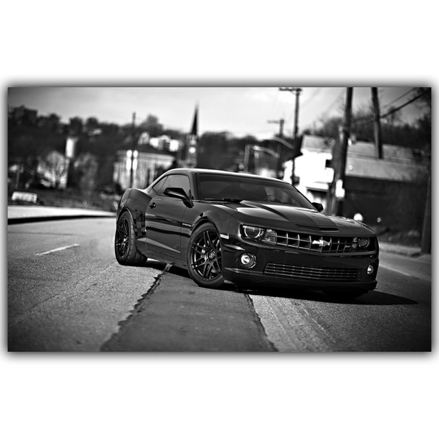 Black and white camaro wall poster