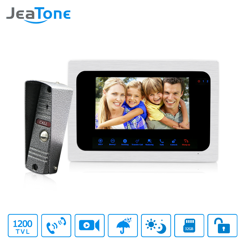 JeaTone 7 Color TFT LCD Video Door Phone Touch Button Door Intercom IR Night Vision Camera Doorbell Kit Waterproof With Storage bosley pro 4