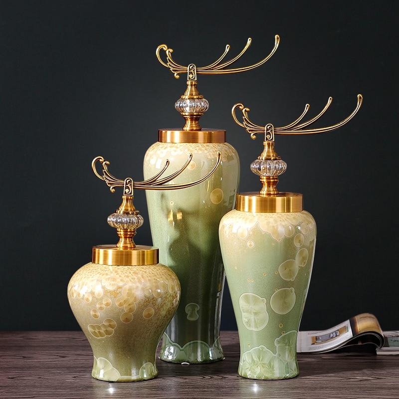 Nové čínské keramické vázy květinové ozdoby simulace nové klasické vily model místnosti jídelní stůl dekorace