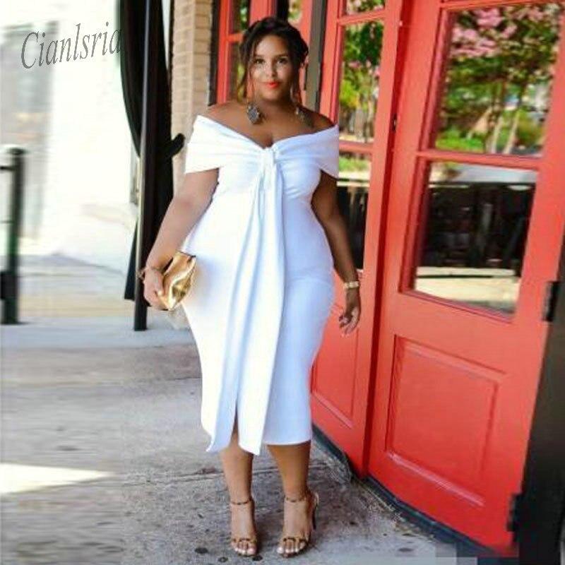 2019 Sexy blanc grande fille grande taille robes de bal hors de l'épaule longueur de thé dos nu manches courtes robes de soirée