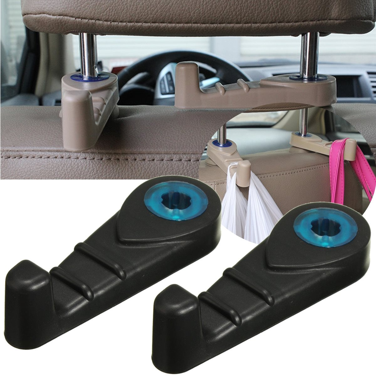 new 2x universal car back seat headrest luggage purse bags hanger hook holder black in auto. Black Bedroom Furniture Sets. Home Design Ideas