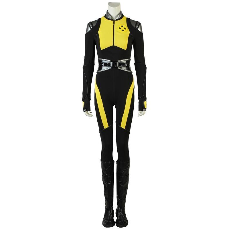 Дэдпул 2 Косплэй Negasonic костюм рубашка Леди Хэллоуин вечерние Для женщин кожа с сапоги для взрослых перчатки пояса комбинезон желтый