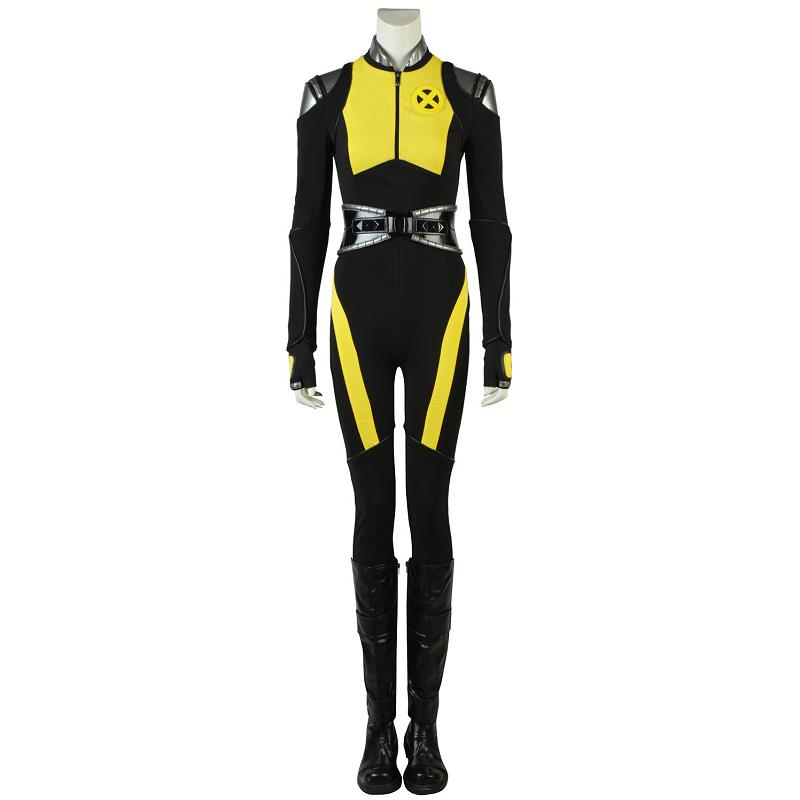DEADPOOL 2 Cosplay Negasonic Costume shirt lady Halloween party Women Leather with boots adult glove belt Jumpsuit yellow