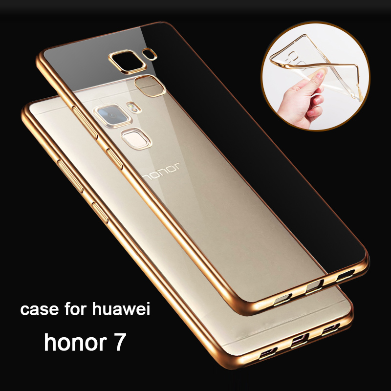 MONASI honor7 Ultra Thin clear pink Gold case for honor 7 original armor transparent soft tpu cover for huawei honor 7 cell pho ...