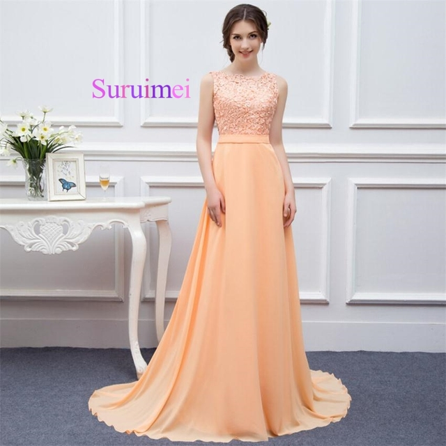 Echt Bild Pfirsich Farbe Lange Brautjungfer Kleider Elegante Scoop ...