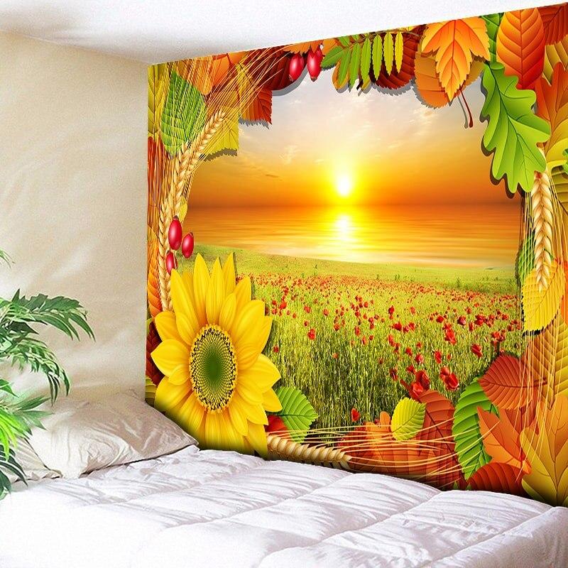Rising Sun Anime Sunflower Scenery Wall Hanging Tapestries Boho Tapestry Mandala Wall Carpet Living Room Big Blanket 200cmx150cm in Tapestry from Home Garden