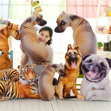 3D Digital Printed Full Body Shape Pet Dog Animal Tiger Cat Toy Custom Made Decorative cushion For Sofa Bulldog Pillow toy