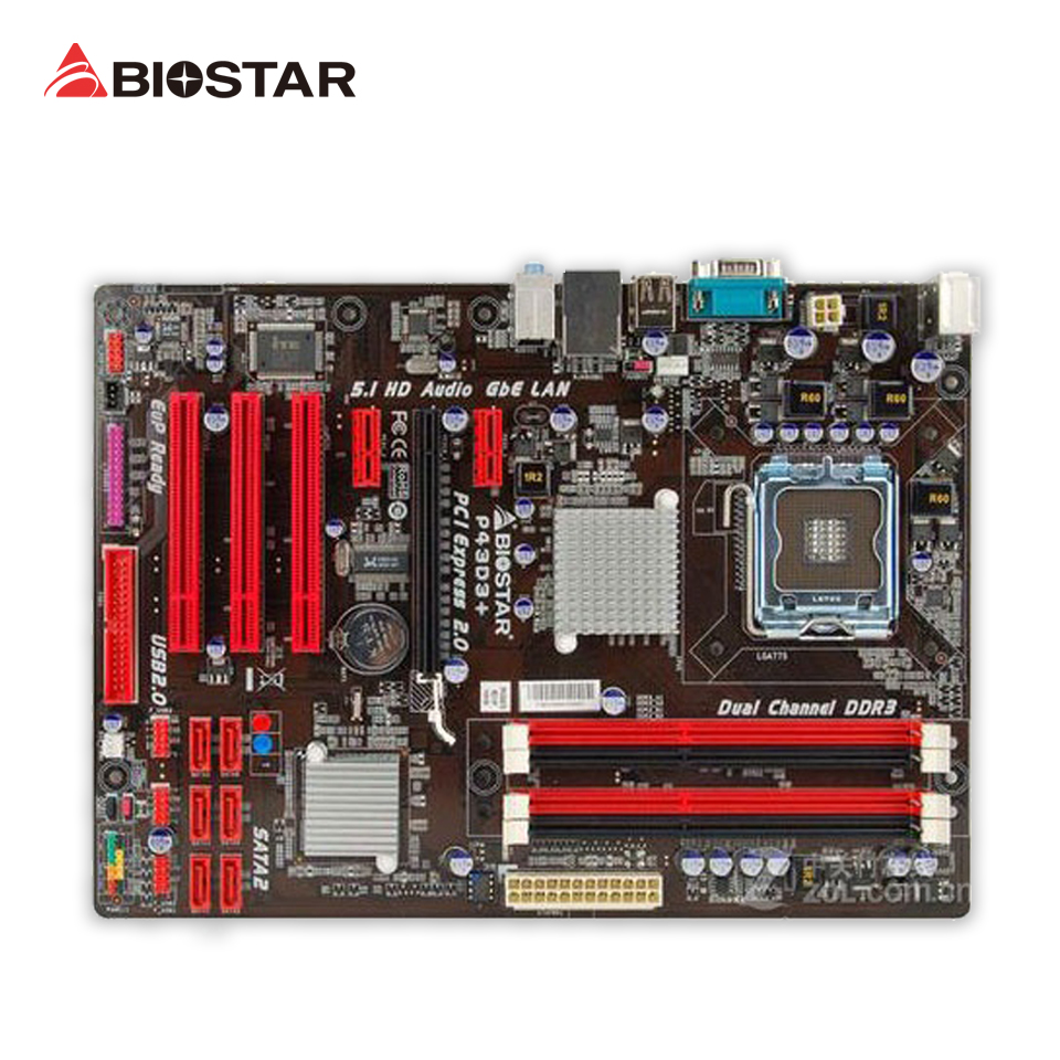 BIOSTAR P43D3+ 6.x Original Used Desktop Motherboard P43 LGA 775 DDR3 SATA2 USB2.0 ATX for mitsubishi outlander 2005 2006 rear trunk security shield cargo cover high qualit black beige car auto accessories