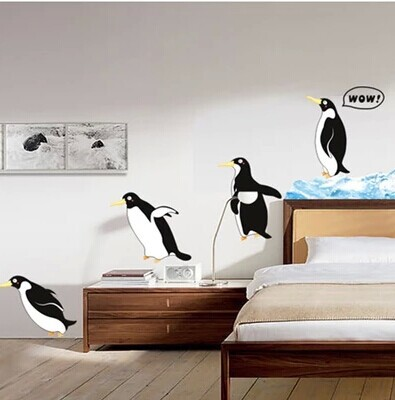 DIY 3D Carton Cute Walking Penguins Wall Stickers Animal Kids Rooms Decoration Wall Decals Adesivo De Parede Children Wallpaper