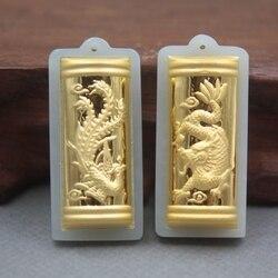 2ピース新24 kイエローゴールドナチュラル硬玉ヒスイ女性男性ドラゴン鳳凰祝福ペンダント38 × 17ミリメートル