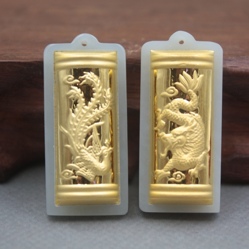 2pcs New 24K Yellow Gold Natural Jadeite Jade Women Men Dragon Phoenix Bless Pendant 38x17mm