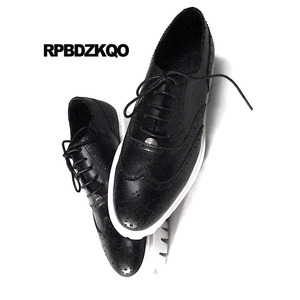 Image 2 - Oxfords Genuine Leather Creepers Spring Men Shoes Handmade Casual Platform Black Big Size Wingtip Brogue Luxury Deluxe Real