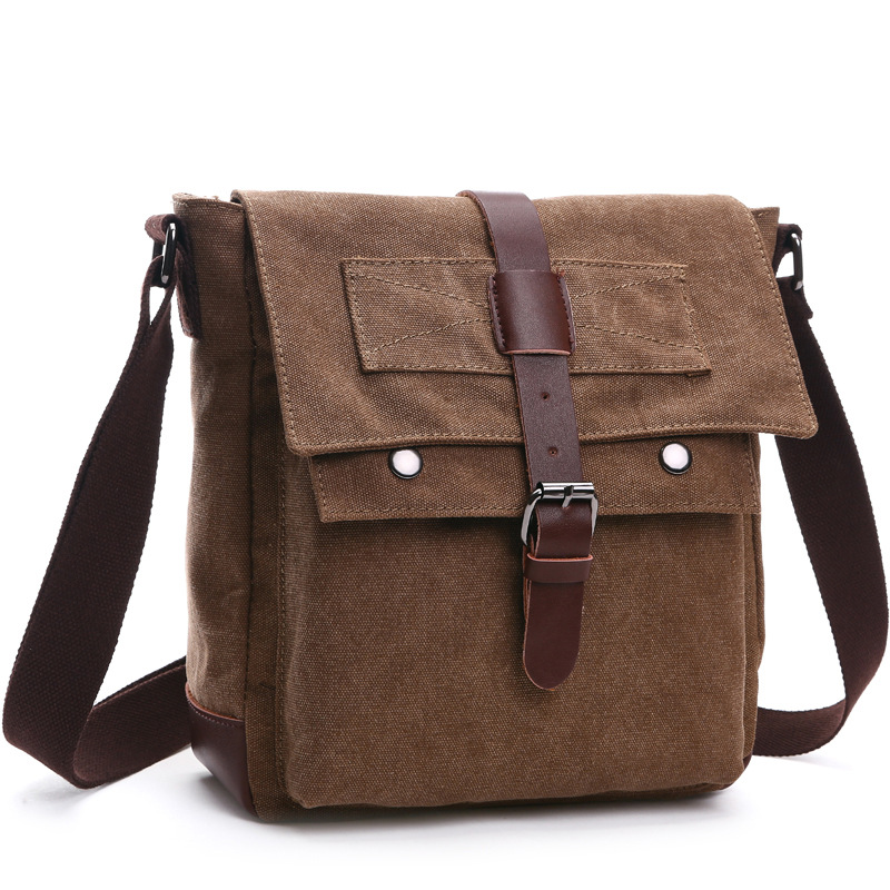 Korean Fashion Casual Canvas Bag Practical Business Single Shoulder Oblique Cross Bag Men's Retro Bag k 911 outdoor canvas single shoulder bag brown