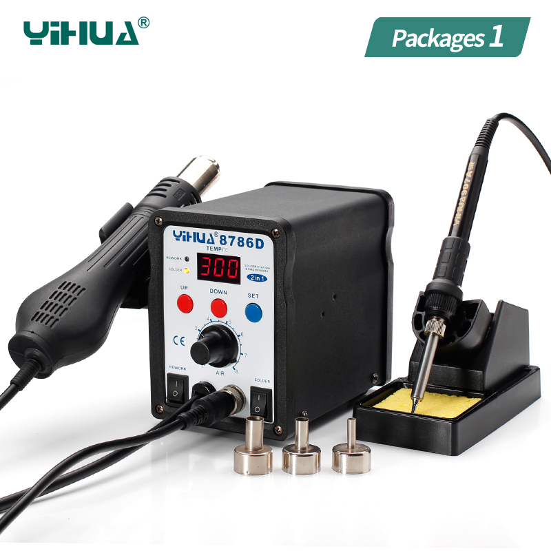 YIHUA 8786D Hot Air Soldering Station LED Accurate Display SMD Soldering Digital Rework Station 2 In 1 yihua 8786d hot air soldering station led accurate display smd soldering digital rework station 2 in 1