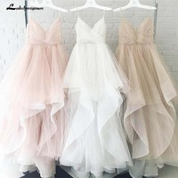Romantic White Front Floor Length Wedding Dress 2018 Bridal Dresses Straps Tulle Zipper Back with 30cm tail Vestido De Noiva