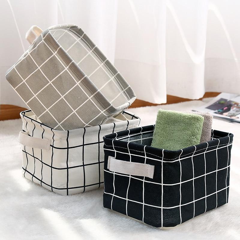 Storage Basket For Toys Cosmetic Organizer Kitchen Sundries Desktop Bag Cotton Linen Waterproof Fabric Laundry Basket TAOSCIL