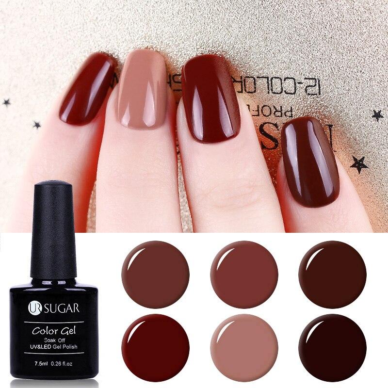 UR SUGAR 6Pcs/set Caramel Color Series Gel Polish Soak Off UV Elegant Coffee Brown Series Nail Art Manicure Gel Varnish Lacquer