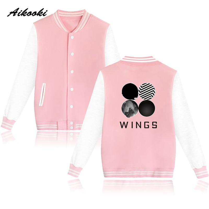 2018 BTS Wings Baseball Jacket Women Winter Cotton Kpop women Coat Jacket Korean Bangtan Casual Jacket Coat women/men Clothes