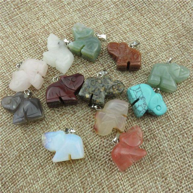 20629 Mixed 12pcs/set Box Nature Stone Charms Quartz Elephant Shape Pendant Dangle Crafts Jewelry Findings Free Shipping