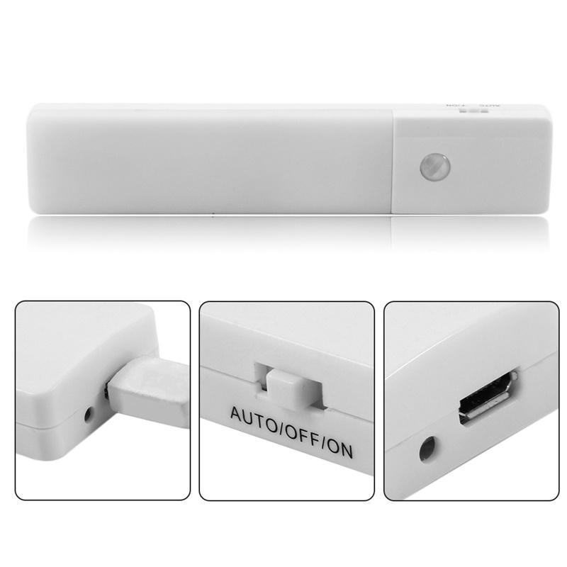 LumiParty LED USB Chargeable Motion Sensor Night Light Human Body Induction Light Sensor Lamp for Wardrobe Corridor Basement