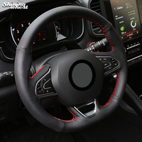 Shining Wheat Black Leather Steering Wheel Cover For Renault Kadjar Koleos Megane Talisman Scenic 2016 2017
