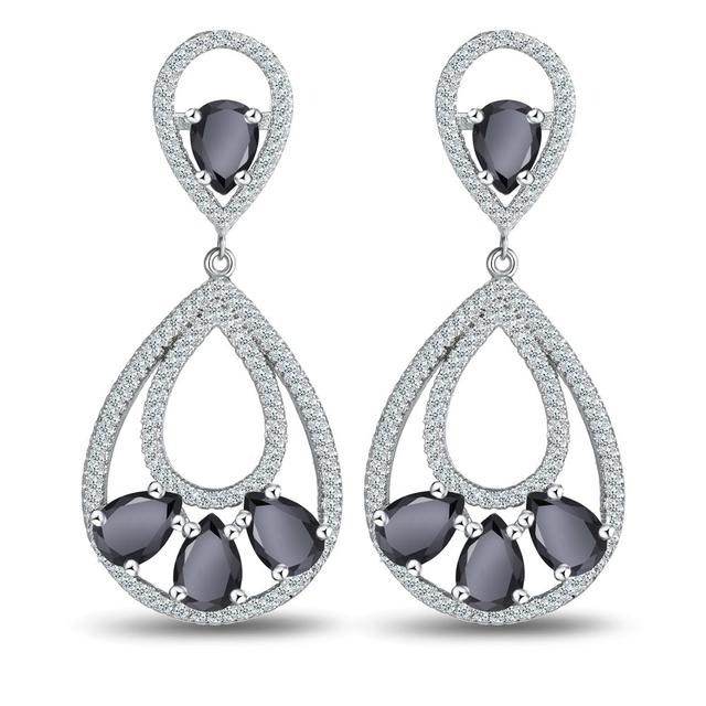 The new AAA zircon with European and American fashion star bride leaves elves exaggeration earrings A undertakes to