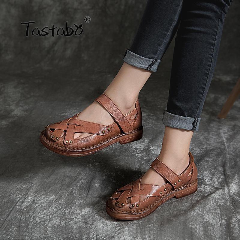 Tastabo Genuine Leather Woman shoes Comfortable Casual Shoes Wear resistant soft bottom Handmade shoes Breathable minimalist-in Women's Flats from Shoes    1