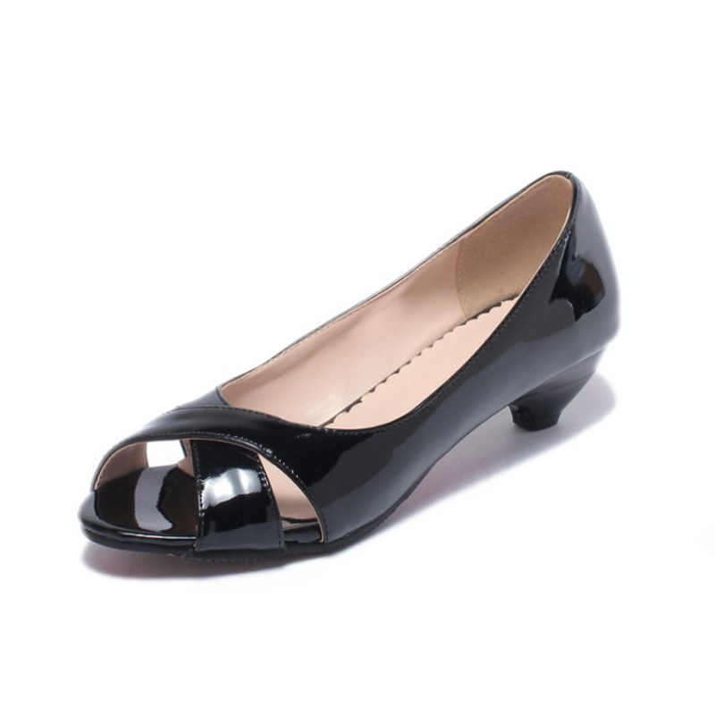 302c9373e2 Cone Heel Women Sandals Breathable Patent Leather Med Heels Office Shoes  Women Peep Mouth Pumps Zapatos Mujer Plus size 31- 43