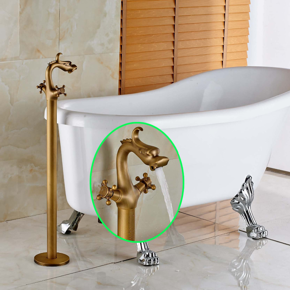 Dragon Style Dual Handles Bathtub Faucet Antique Brass Mixer Tap Free Standing
