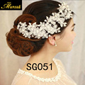 2016 Sale Real Headbands Romantic Stainless Steel Girl Flowers Hair Dress Pearl Headwear Accessories Jewelry free Shipping Sg051