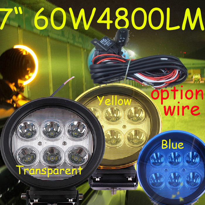 Free DHL/UPS Ship,7 60W 4800LM 10~30V,6500K,LED working light;Free ship!Optional wire;motorcycle light,forklift,tractor light hw v7 020 v2 23 ktag master version k tag hardware v6 070 v2 13 k tag 7 020 ecu programming tool use online no token dhl free