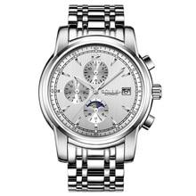 SOLLEN Часы для Мужчин автоматические механические часы стальные спортивные часы три большие набрать моды часы световой водонепроницаемый