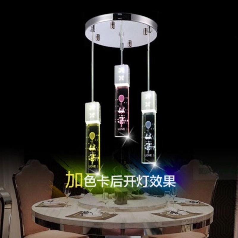 High Quality Romantic Modern Fashion K9 Crystal Led 5w*1/3 Heads Pendent Light For Dining Room Living Room Bar Deco 2224 modern fashion luxurious rectangle k9 crystal led e14 e12 6 heads pendant light for living room dining room bar deco 2239