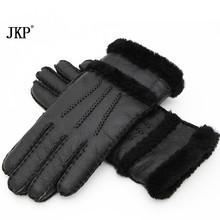 2020 moda zimowe damskie rękawiczki skórzane ciepłe rękawiczki i rękawiczki w ciepła skórzana czarna Wysokiej jakości Bardzo piękne tanie tanio Dla dorosłych WOMEN Futro Stałe Nadgarstek 9999