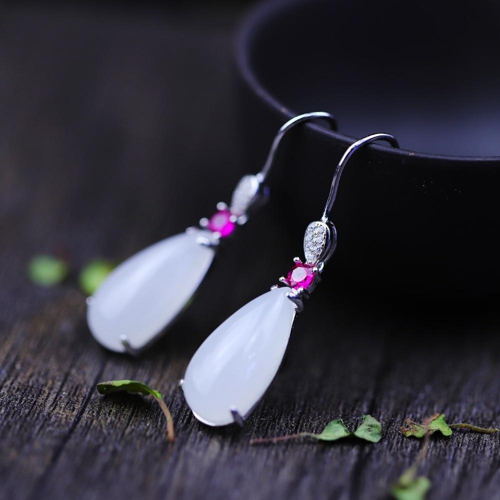 Hot Sale Natural Gemstone Jade 925 Sterling Silver Ethnic Drop Long Earrings for Women Fine Jewelry Earrings Set Earings hot sale ethnic floral pattern pashmina for women
