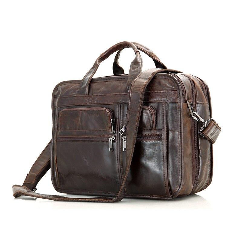 Multifunction Cowhide Retro handbag Shoulder Messenger bag Business Bags Genuine Leather Men Briefcase 14 inch laptop