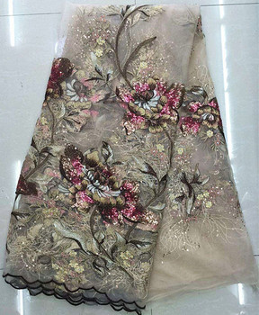 Graceful French net lace fabric nice flower embroidery fashion mesh material African tulle cloth for evening dress GN8