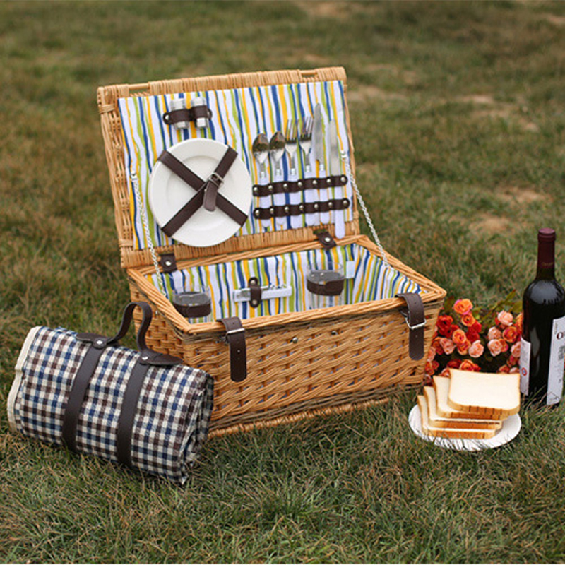 Cute Vintage Romantic Valentine Day Wicker Picnic Basket For 2 Persons  Outdoor Picnic Storage Baskets For Lover In Storage Baskets From Home U0026  Garden On ...