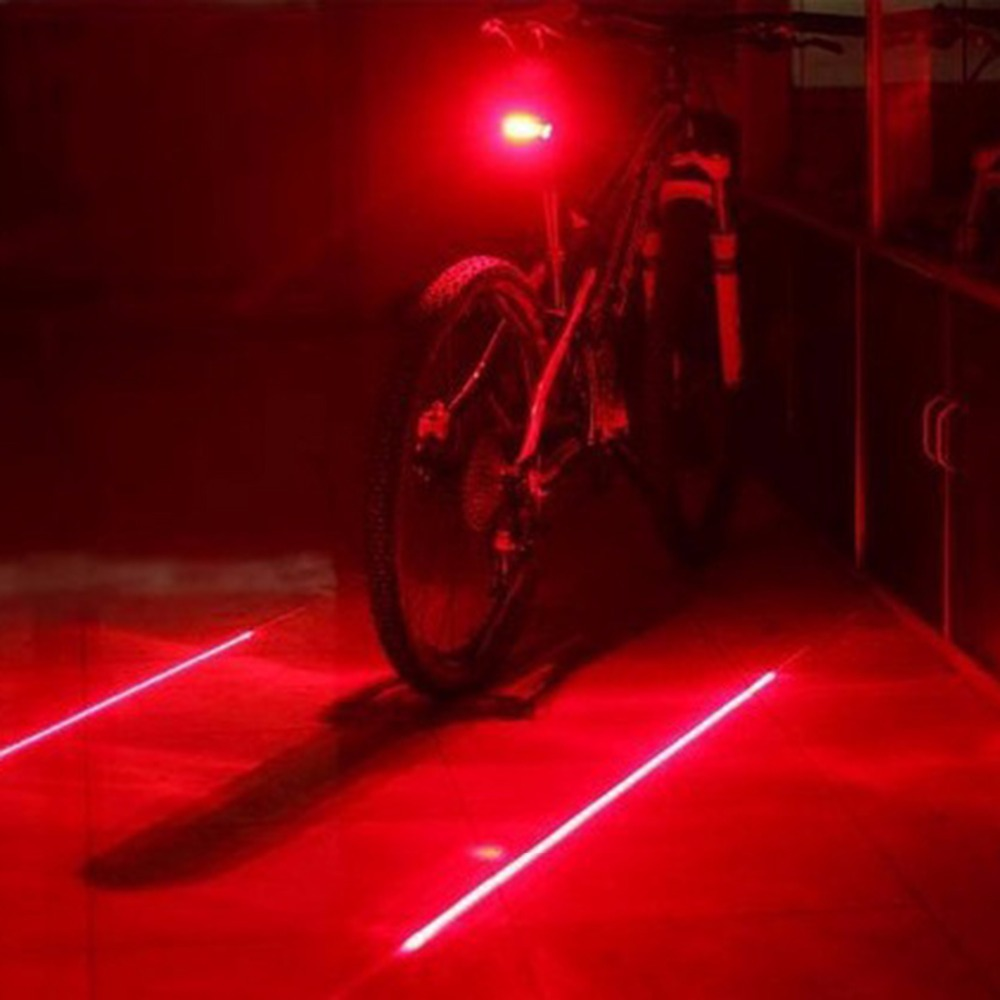 Bike Tail Light 5-LED Red Safety Back Rear Flashing Battery Powered Waterproof
