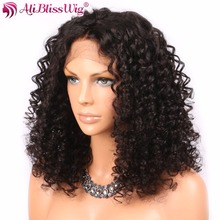 AliBlissWig Curly 360 Wigs For Black Women Natural Color Brazilian Remy Human Hair Curly Wigs Light Brown Medium Cap