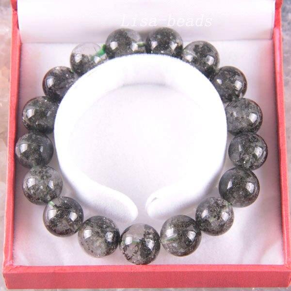 Бесплатная доставка, Изящные Ювелирные изделия, тянущиеся Зеленые Круглые бусины 12 мм, 100% натуральный АА зеленый фантомный браслет 8 с коро