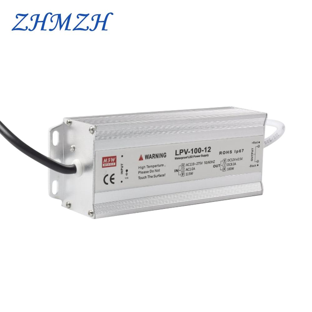 Alimentation en alimentation LED AC 100 V-265 V 100 W, conducteur de LED CVCC IP67 étanche 8.5A DC 12 V